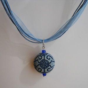 Blue Asian Circle Pendant Organza Necklace Unique